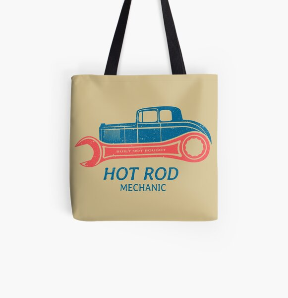 Hot Rod Mechanic All Over Print Tote Bag