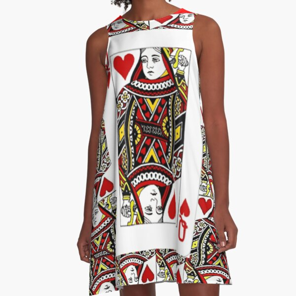 QUEEN OF HEARTS PLAYING CARDS ARTWORK  A-Line Dress