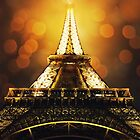 Eiffel Tower at night time by psychoshadow
