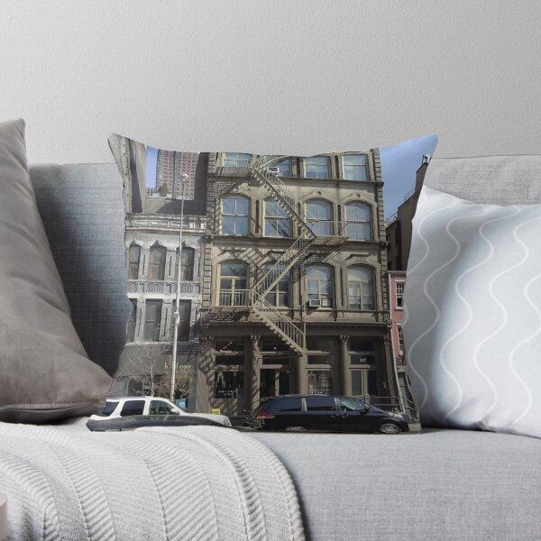 #facade, #windows, #architecture, #street, #city, #town, #LocalLandmark, #downtown, #NewYorkCity, #NYC Throw Pillow