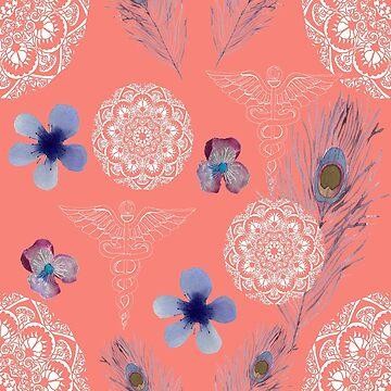 Caduceus in Living Coral Floral by DReneeWilson