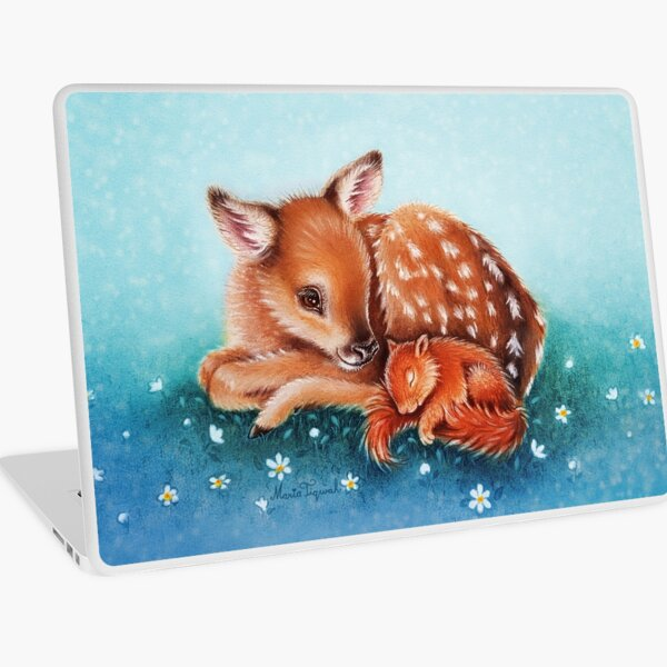 Deer & squirrel by Maria Tiqwah Laptop Skin