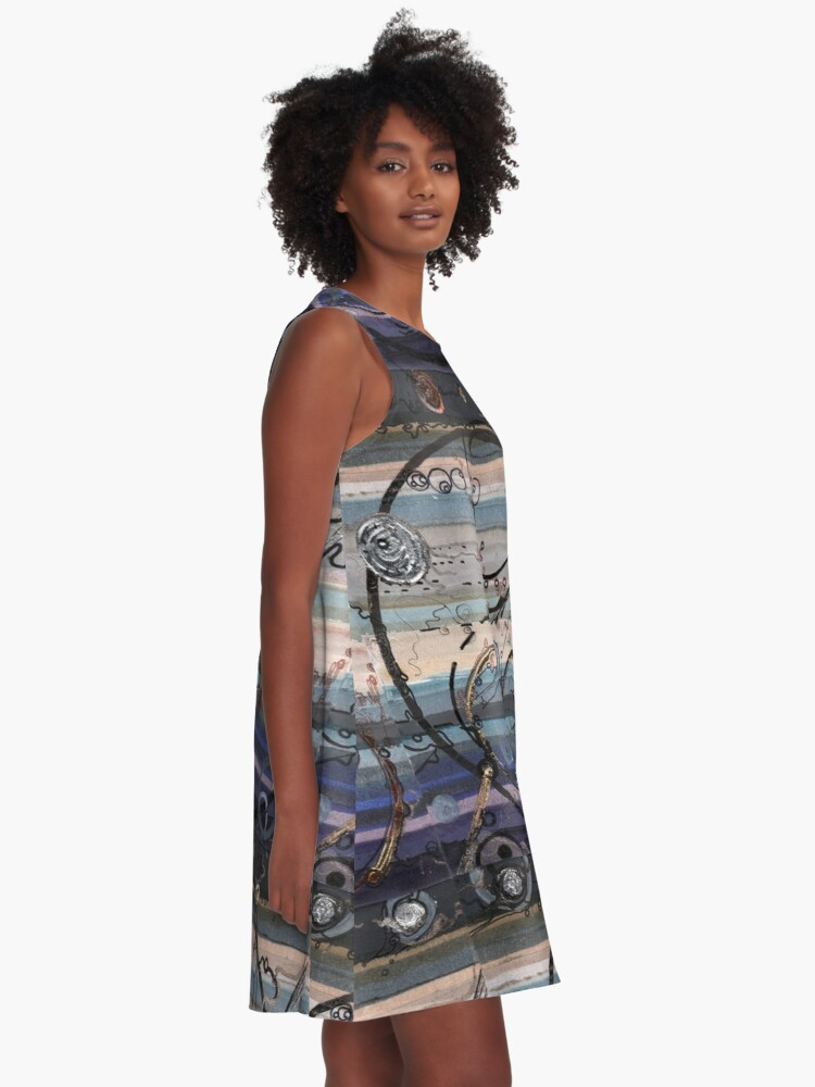 Alternate view of Space race ink on paper A-Line Dress