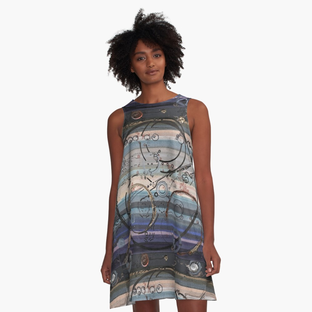Space race ink on paper A-Line Dress