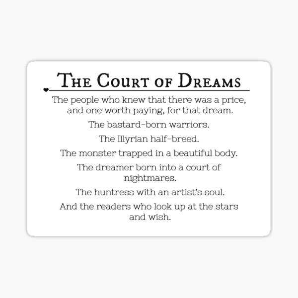The Court of Dream & The Readers who Look up the stars and wish. (Sarah J. Maas Quote) Sticker