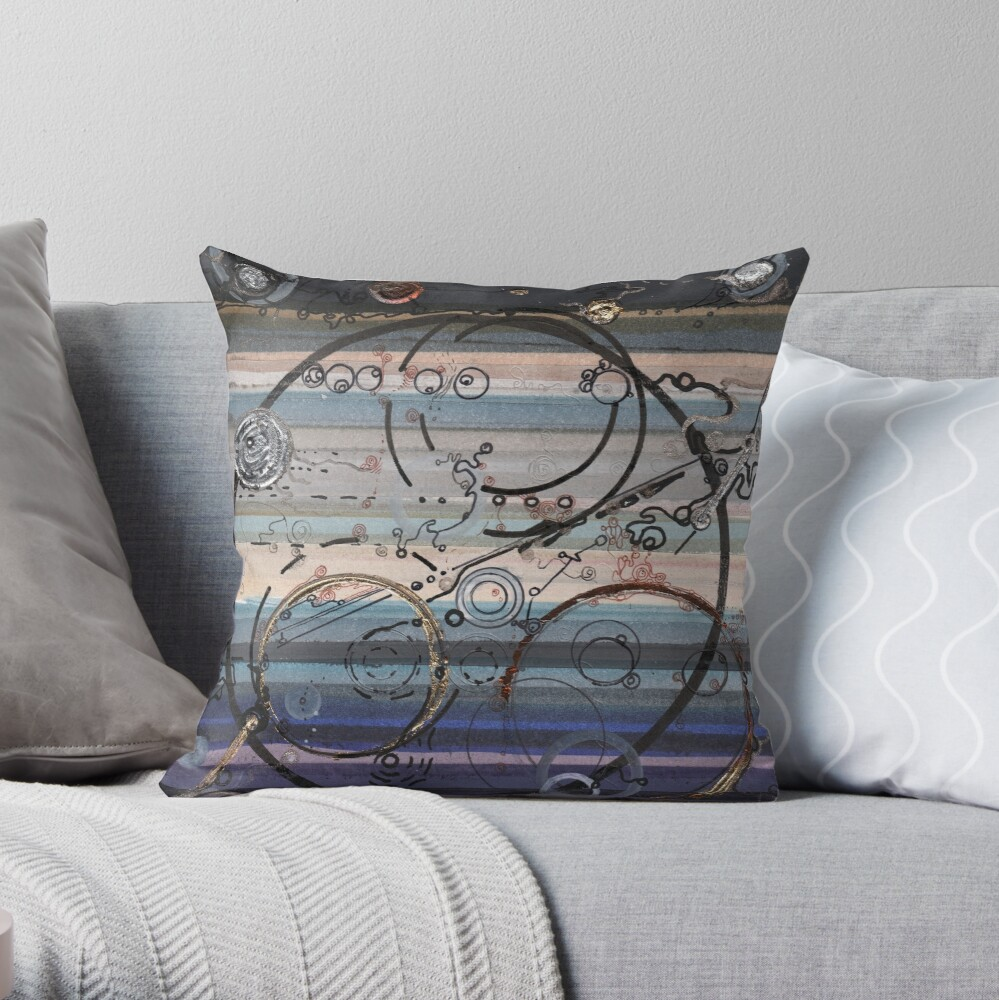 Space race ink on paper Throw Pillow
