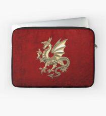 Gold Winged Norse Dragon - Icelandic Viking Landvaettir over Red Velvet  Laptop Sleeve