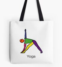 Painting of triangle yoga pose with yoga text. Tote Bag