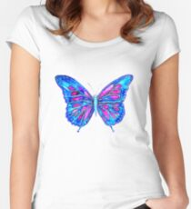 Pretty in Blue - Butterfly Fitted Scoop T-Shirt