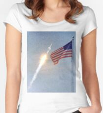 Lift Off - Apollo 11 Artwork / Digital Painting Women's Fitted Scoop T-Shirt
