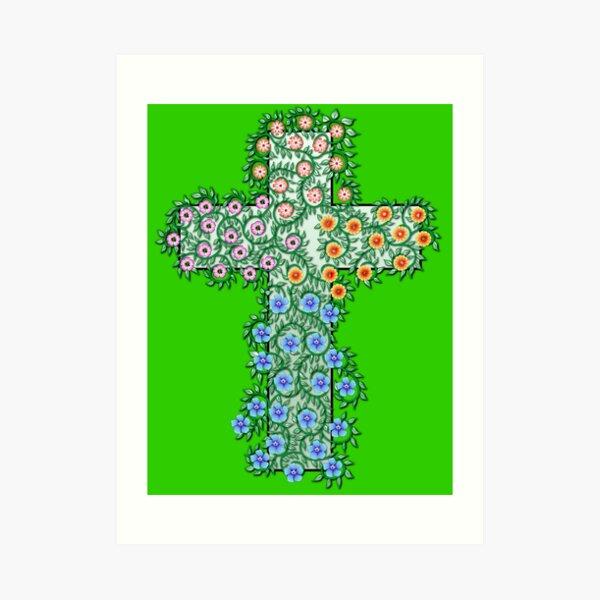 Kreuz mit Blumen und Ranken Kunstdruck