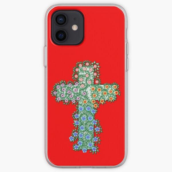 Kreuz mit Blumen und Ranken iPhone Flexible Hülle