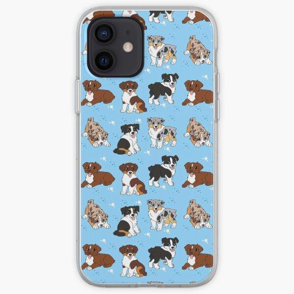 Australian shepherd puppies blue iPhone Soft Case