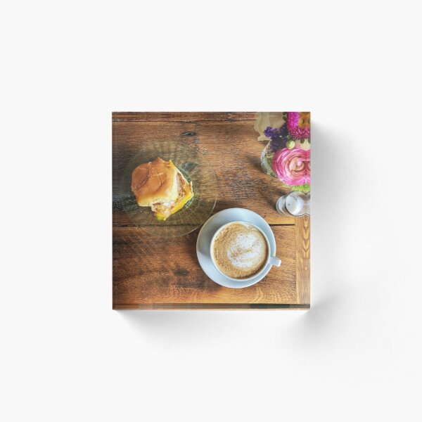 Coffee and Breakfast with Flowers Acrylic Block