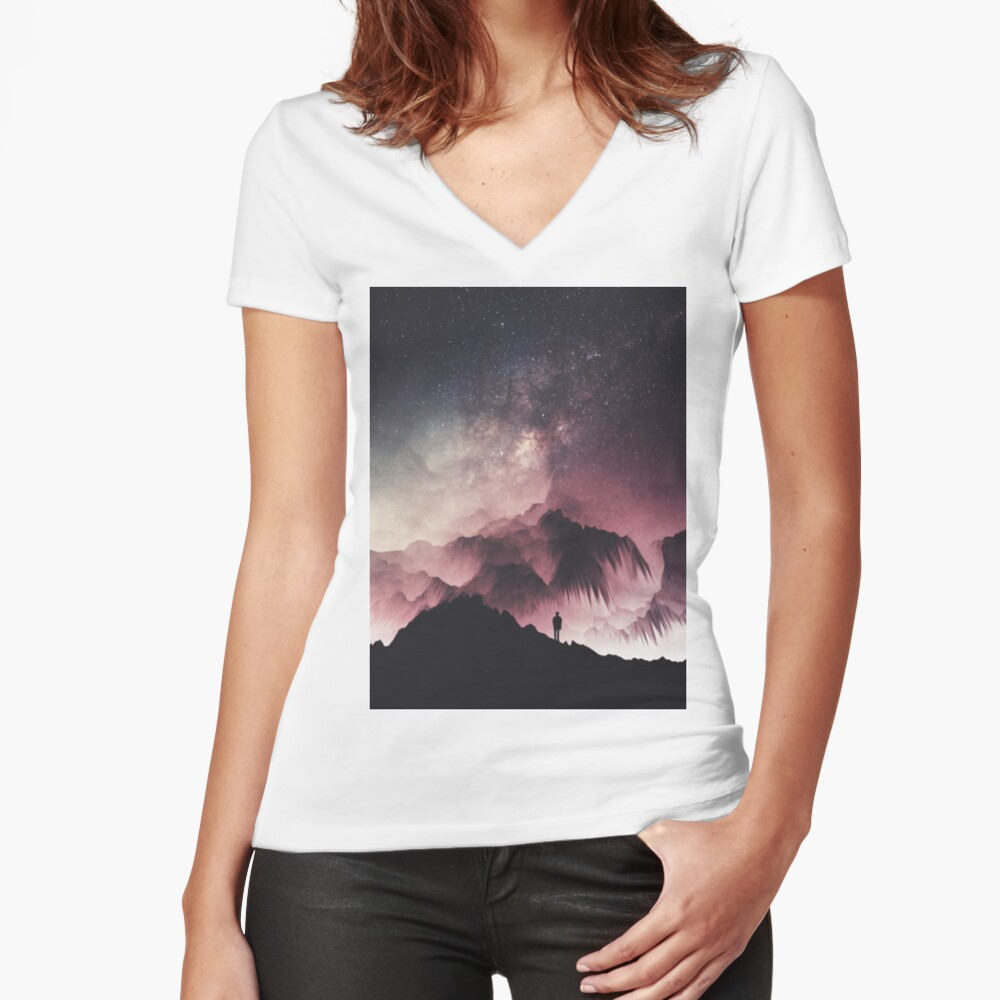 Night Fitted V-Neck T-Shirt