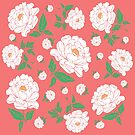 White Peonies on Living Coral by Rockett Graphics