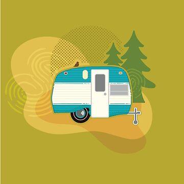 Glamper Camper - Ilustración Retro Camper de amandaweedmark