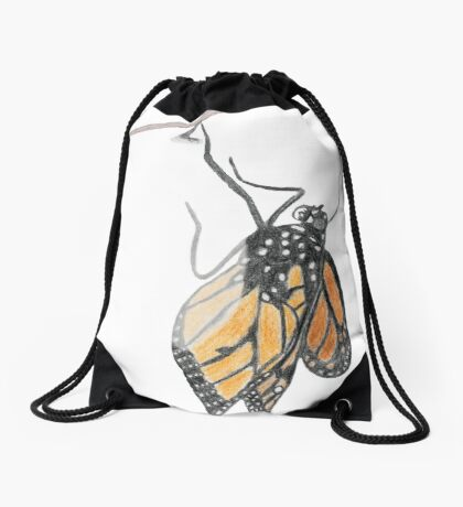 Monarch Butterfly emerging from its Chrysalis Drawstring Bag