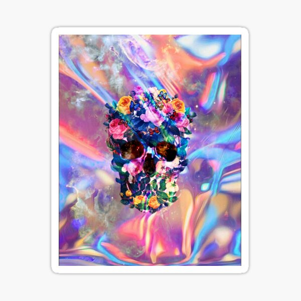 Rose Garden Skull Sticker