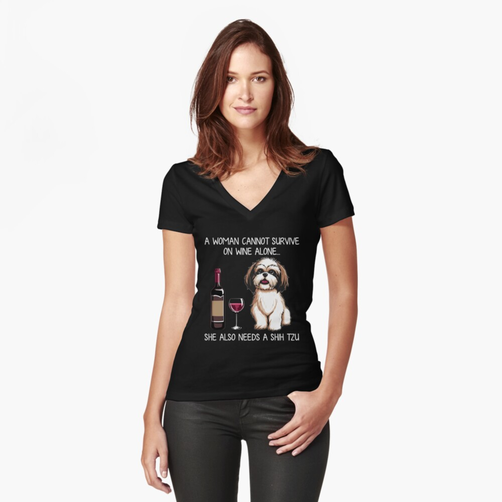 Shih Tzu and wine Funny Dog  Fitted V-Neck T-Shirt