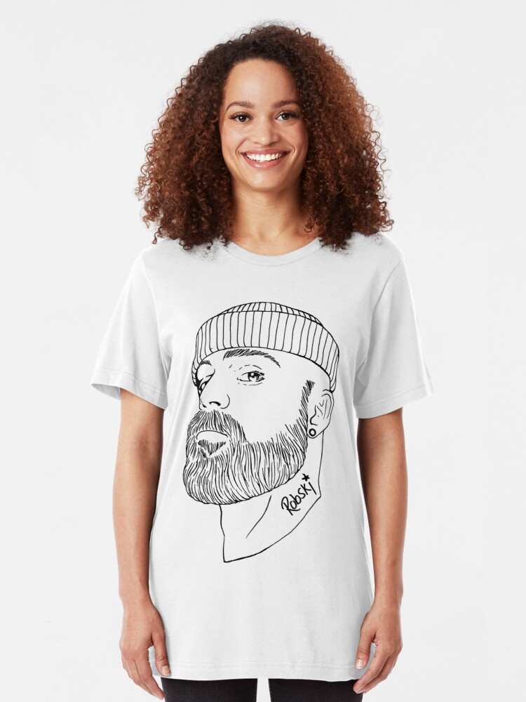 Alternate view of Beanie Boy - Black lines Slim Fit T-Shirt