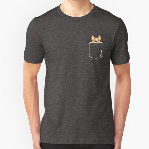 Funny Smiling Corgi In Pocket Slim Fit T-Shirt
