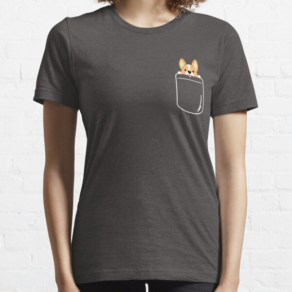 Sonriente corgi en bolsillo Camiseta esencial