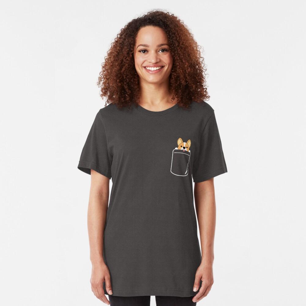 Smiling Corgi In Pocket Slim Fit T-Shirt