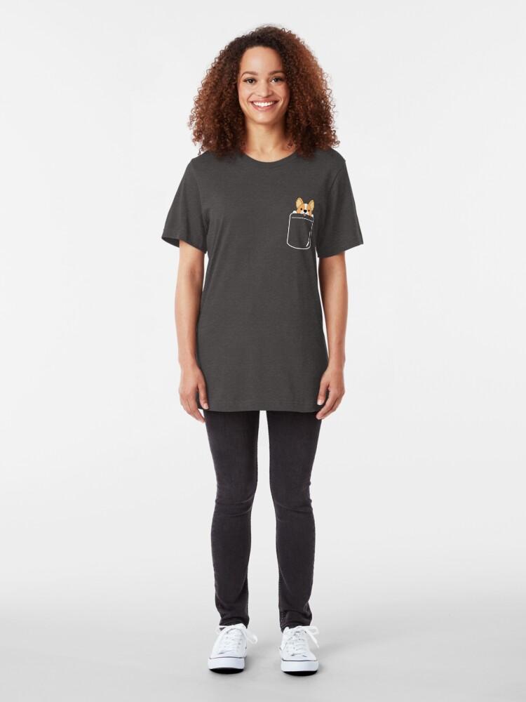 Alternate view of Smiling Corgi In Pocket Slim Fit T-Shirt
