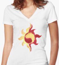 Sunset Shimmer Paintsplatter Women's Fitted V-Neck T-Shirt