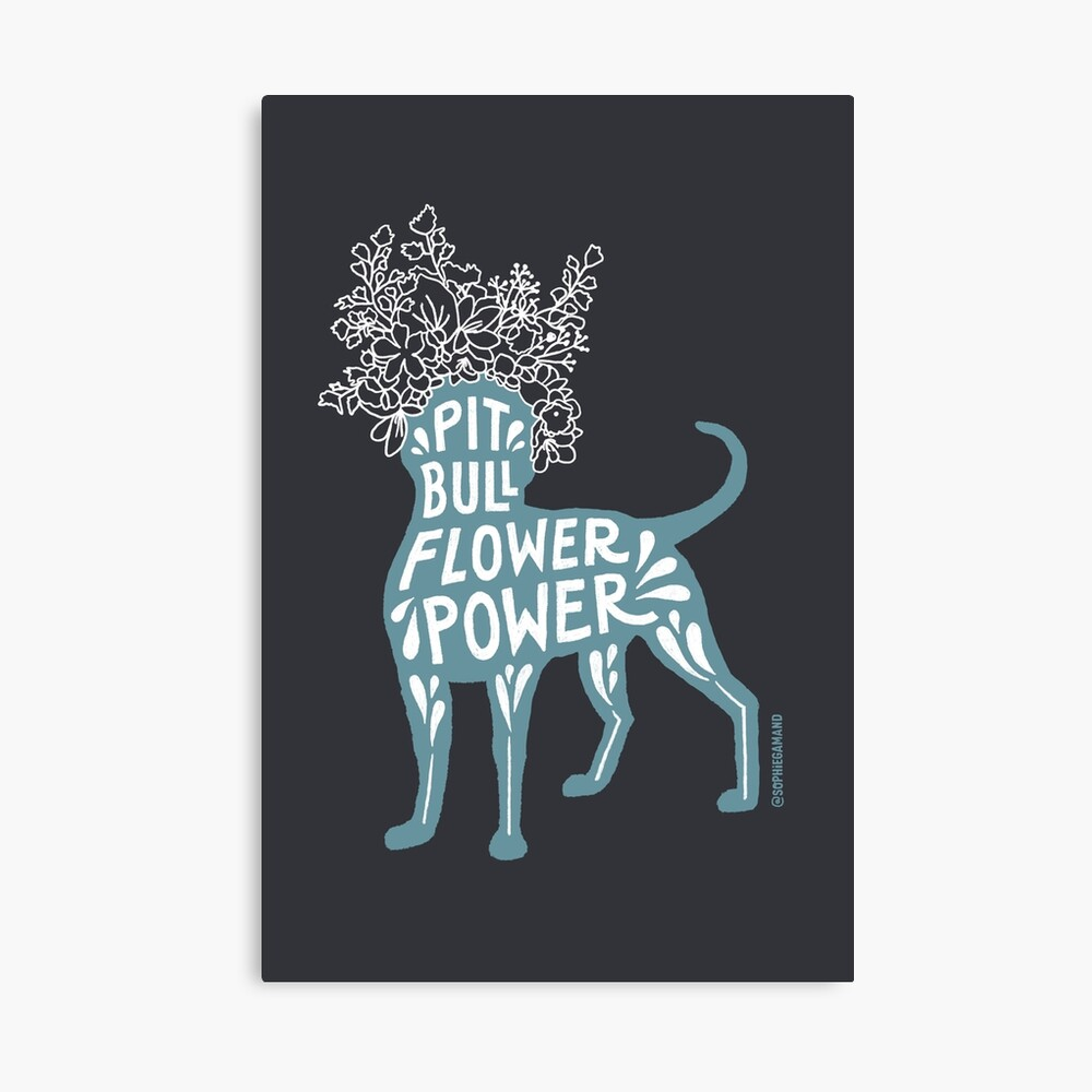 Pit Bull Flower Power II Canvas Print