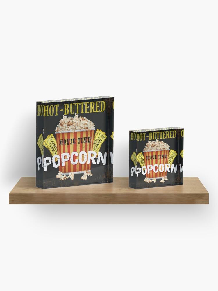 Vista alternativa de Bloque acrílico Arte de teatro de palomitas de maíz con mantequilla caliente