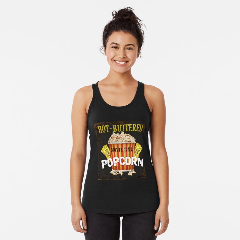 Arte de teatro de palomitas de maíz con mantequilla caliente Camiseta con espalda nadadora
