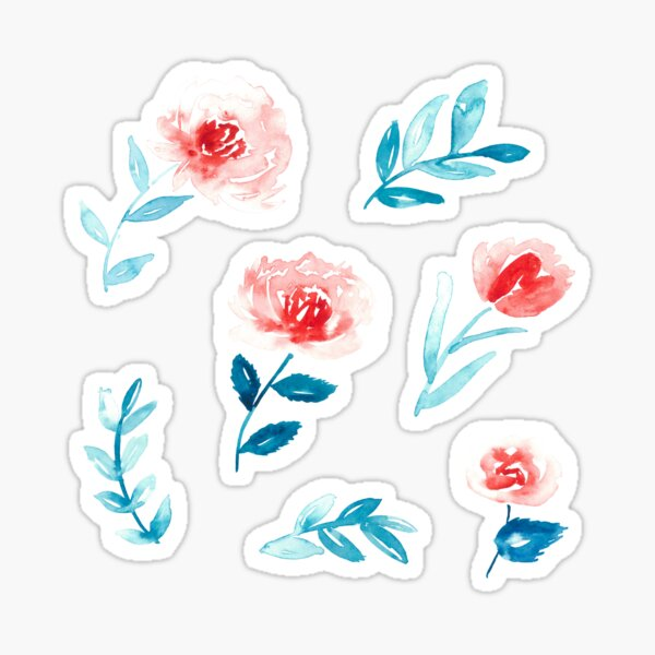 Set of floral watercolor stickers in coral and turquoise Sticker
