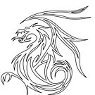 tribal dragon outline by spikey-dragon