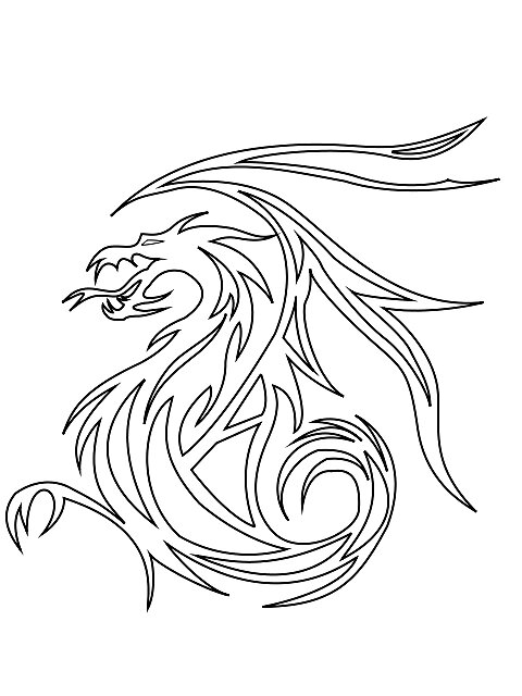 Quot Tribal Dragon Outline Quot By Spikey Dragon Redbubble