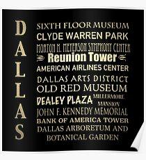 Dallas Famous Landmarks Poster