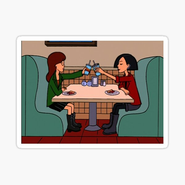 daria and jane pizza time Sticker