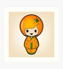 Orange Kokeshi Doll Art Print