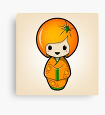 Orange Kokeshi Doll Canvas Print