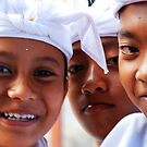 Smiling Balinese boys by Michael Brewer
