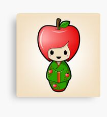 Apple Kokeshi Doll Canvas Print