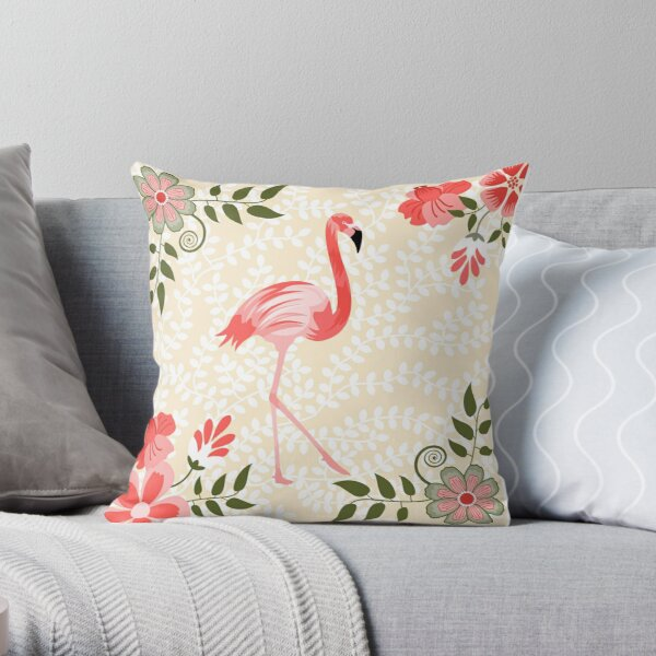 Flamingo with Flowers Illustration Throw Pillow