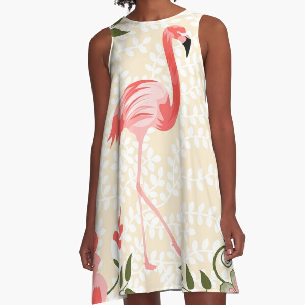 Flamingo with Flowers Illustration A-Line Dress