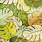 Monstera Leaves Grunge by Rockett Graphics
