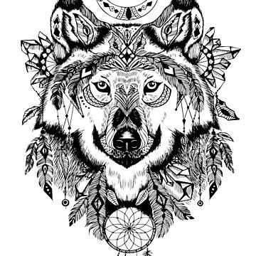 gray wolf aztec illustration wolf totem - wicca wolf  by MOUSATNI