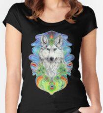 Prisma - weisser Wolf und Regenbogen Tailliertes Rundhals-Shirt