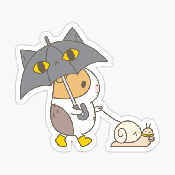 Bubu the Guinea pig, Rainy Day  Sticker