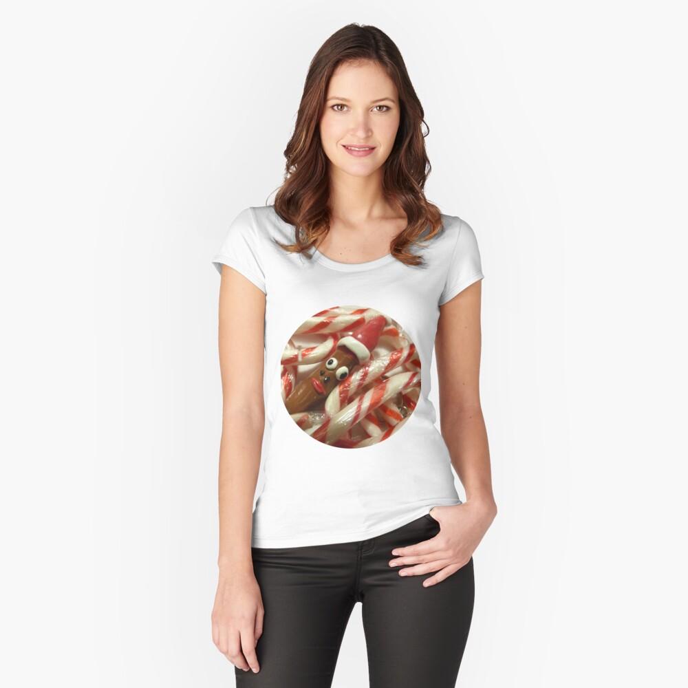 Devant T-shirt échancré femme ''Bonbon de Noël inhabituel'