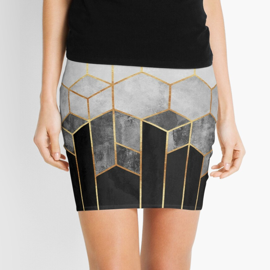 Charcoal Hexagons Mini Skirt